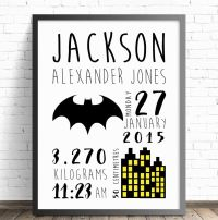 Batman Personalised Baby Nursery Wall Art Print, Birth ...