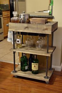 Industrial Pipe and Wood Bar Cart / Kitchen Cart by ...