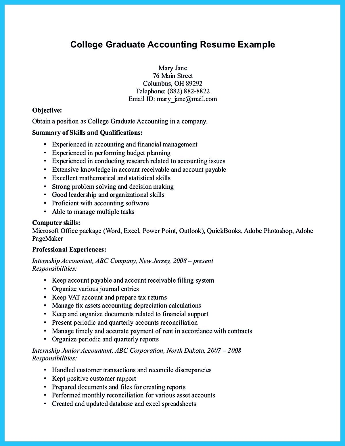 Objective For Accounts Payable Resume Accounting Student Resume Here Presents How The Resume Of