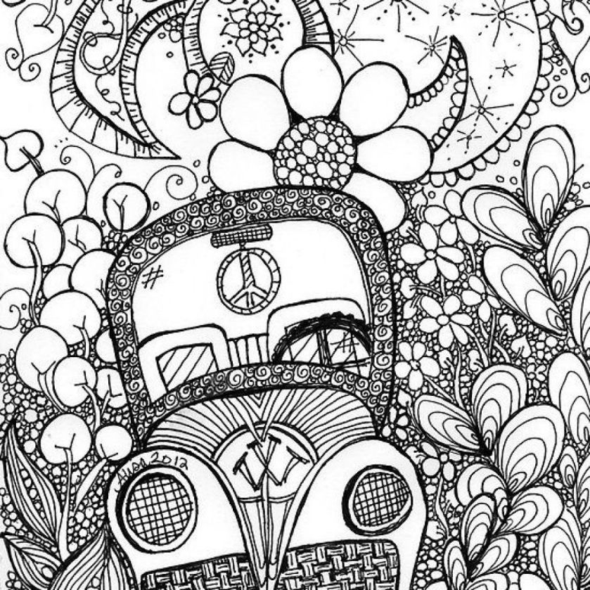 beautiful trippy car doodle art coloring page  coloring