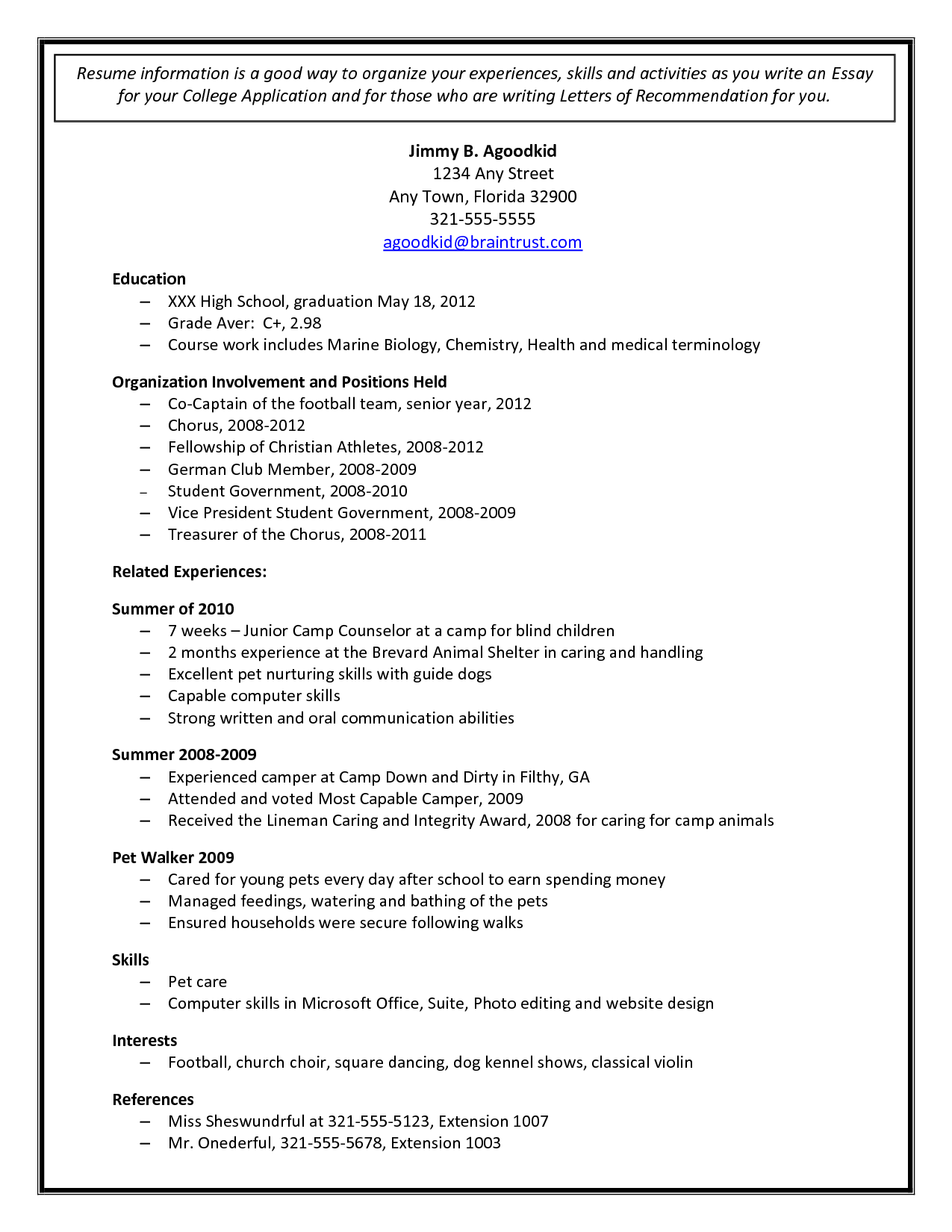 College Admission Resume Examples College Admission Resume Template Document Sample