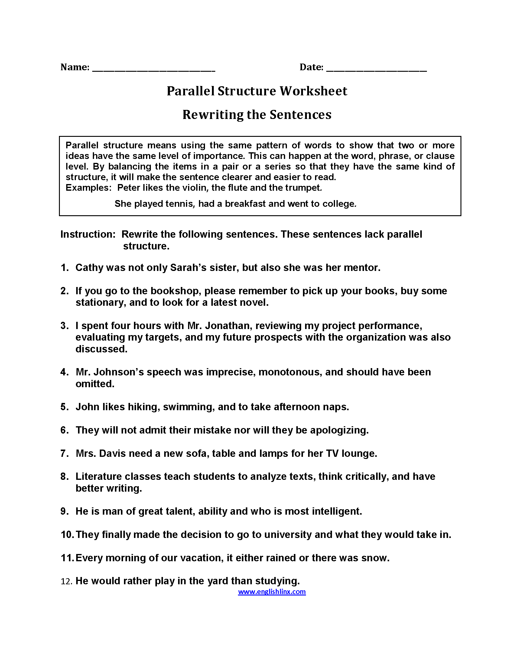 Rewriting Sentences Parallel Structure Worksheets