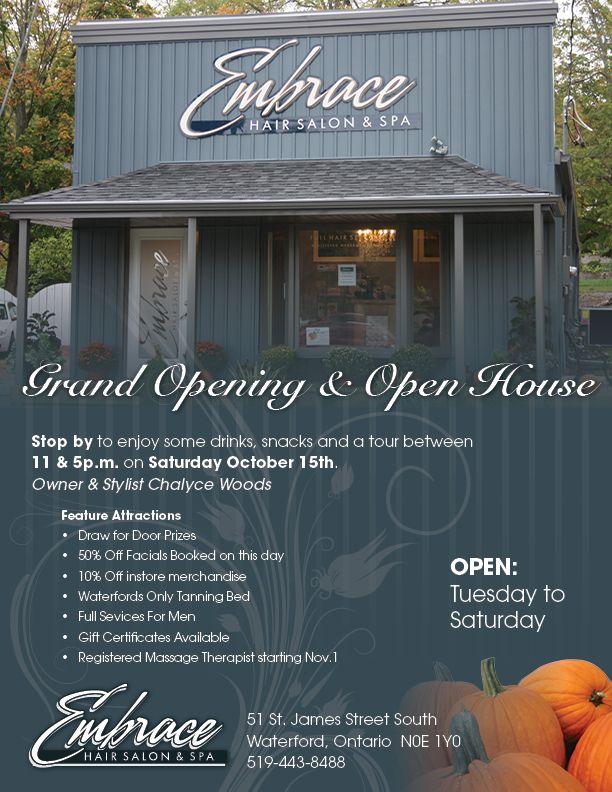 Grand Opening Flyer Ideas Embrace Hair Salon & Spa Open House