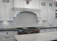 White Carrera marble backsplash
