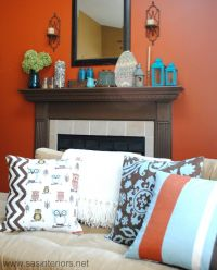 Mantle decor/colors. Orange, turquoise brown and cream ...