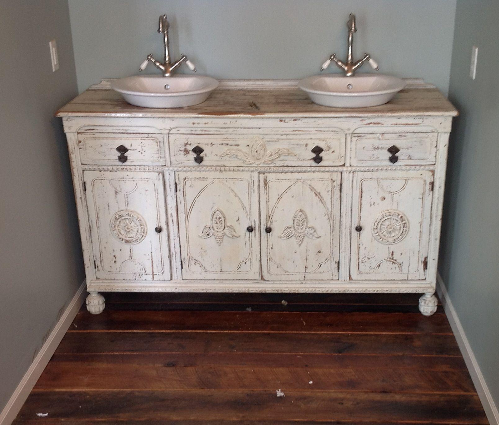 painted shabby chic repurposed bathroom sink vanity. repurposed
