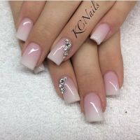Beautiful pink to white fade acrylic nails! Love the ...
