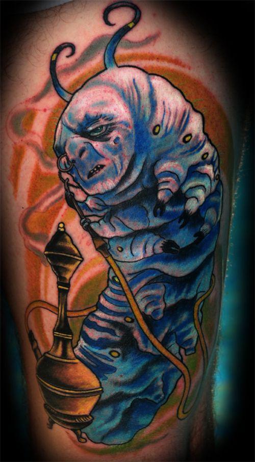 Dark Alice in Wonderland Tattoos Absalom catepillar