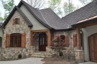 green color with stone and wood for house exterior | House ...