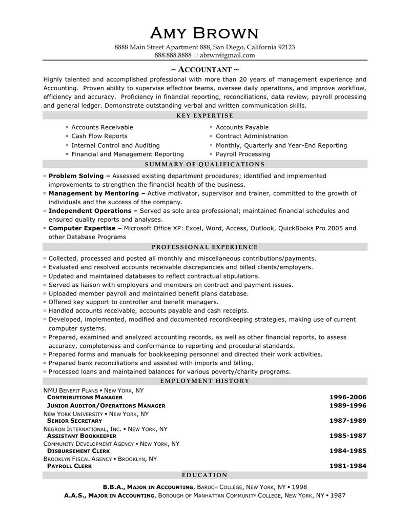 Accountant Resume Sample Amy Brown Writing Services For Entry