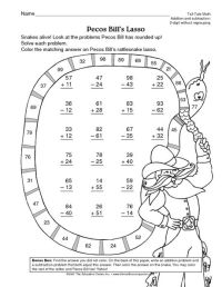 Math Worksheet: 2-digit addition and subtraction without ...
