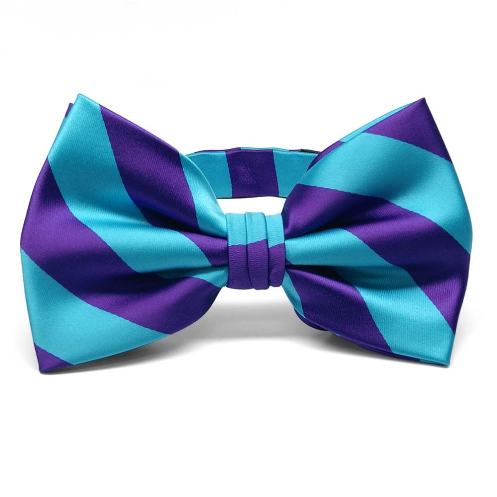 Dark Purple and Turquoise Striped Bow Tie