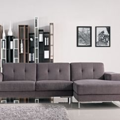 Modern Sofa L Shape Blue And White Striped Bed Forli Gray Fabric Sectional