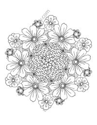 flower coloring page floral adult coloring by ...