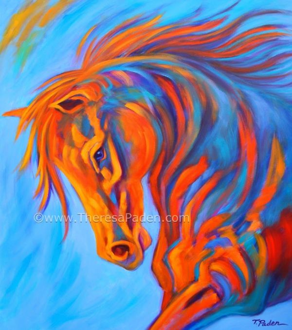 Abstract Horse Paintings Large Colorful
