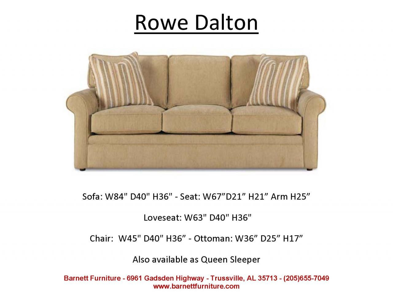 average size of a sofa manstad bed measurements rowe dalton you choose the fabric