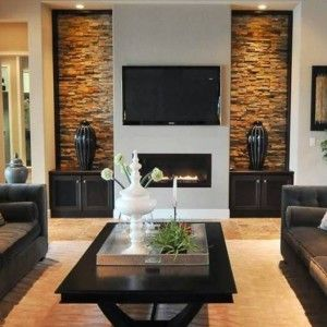 Living Room With Wall Mounted Fireplace Electric And Lcd Tv