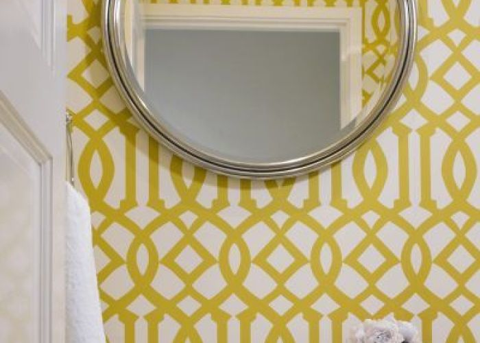 casagiardino modern bathroom with yellow imperial trellis by jute interior design also wallpaper  hanging mirror in the house pinterest bath powder