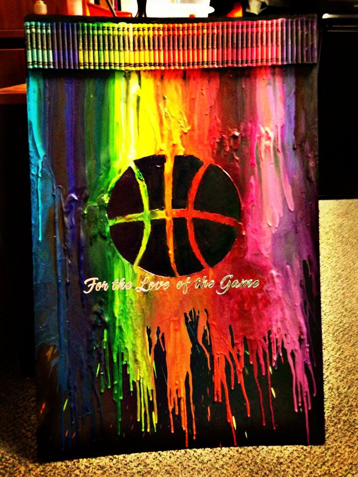 Basketball Melted Crayon Art