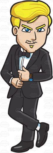 stylish blonde man in tuxedo