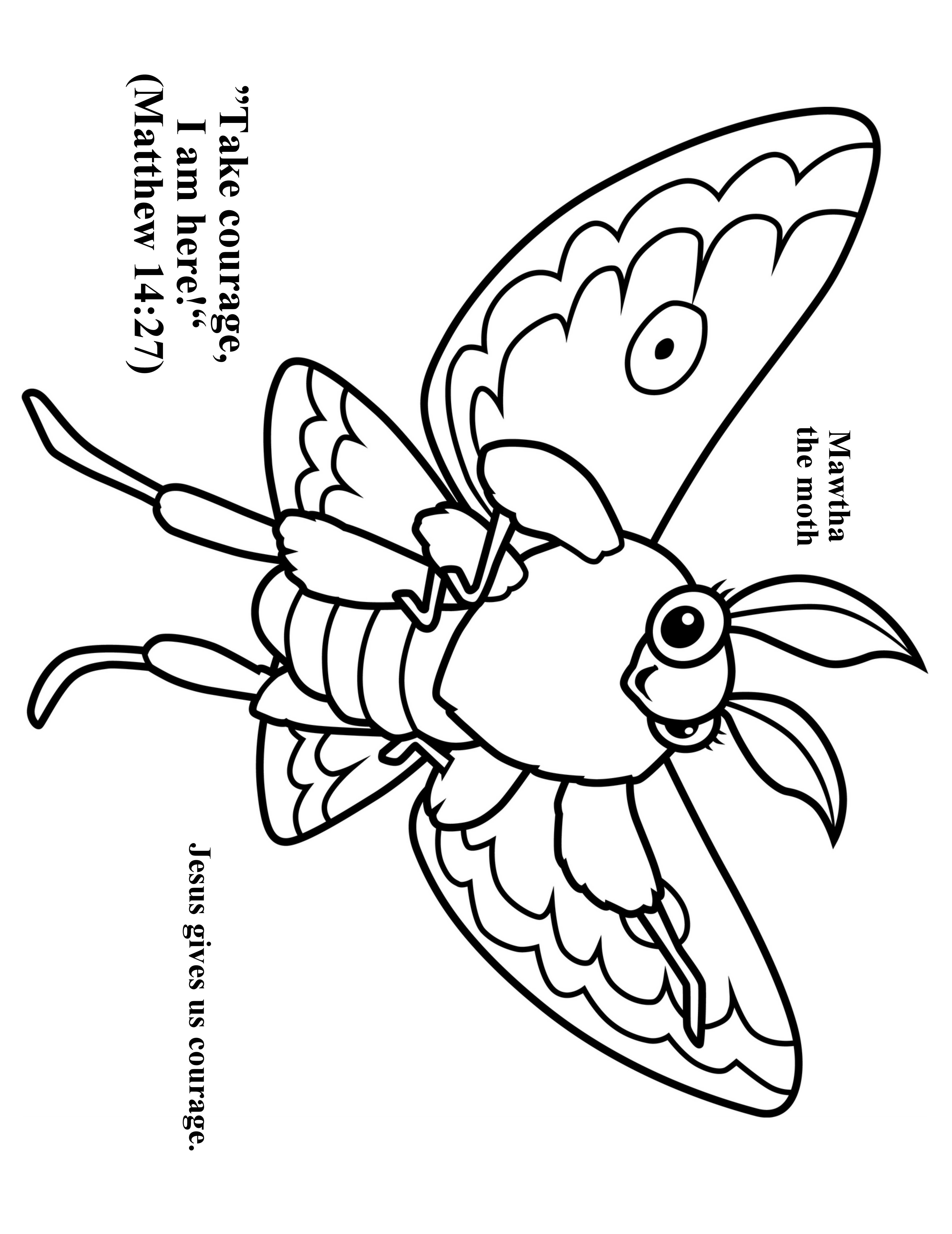 Cave Quest Day 2 Preschool Coloring Page Mawtha The Moth