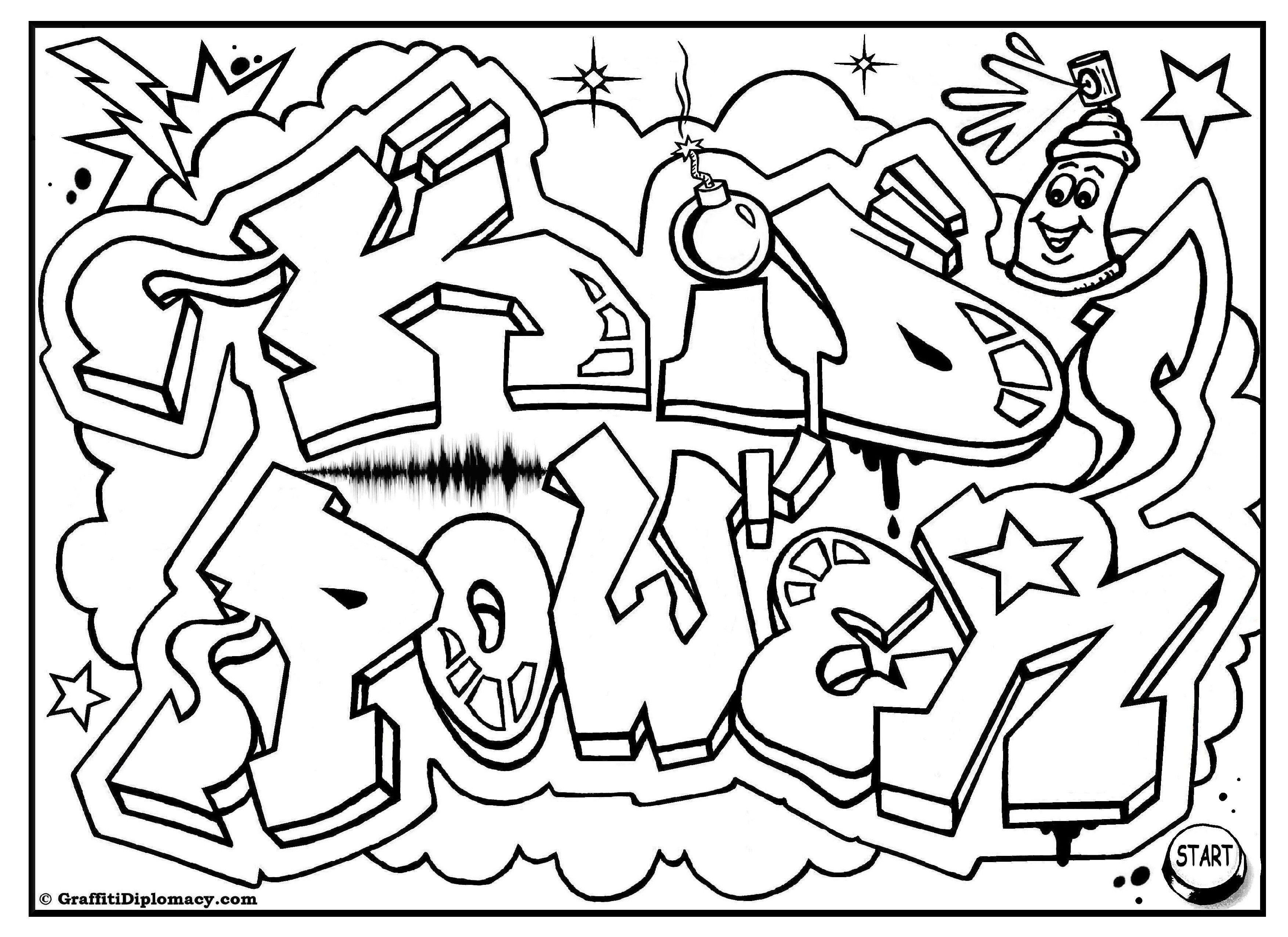 Kid Power Free Graffiti Coloring Page Free Printable