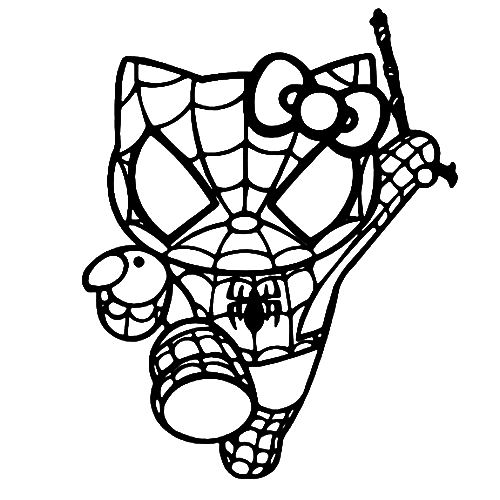 Hello Kitty Spiderman Laptop Car Truck Vinyl Decal Window