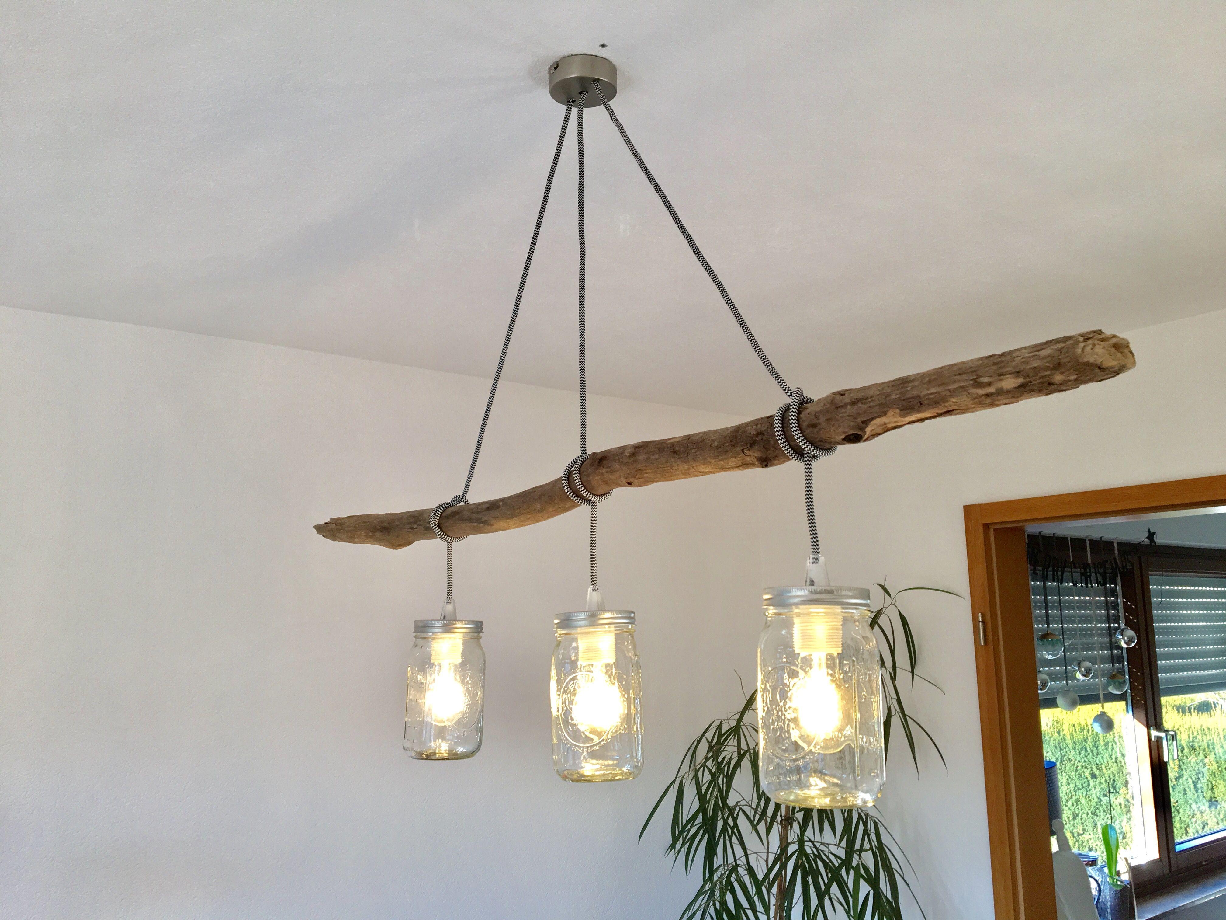Homemade lampe with branch Selbstgemachte Esstischlampe