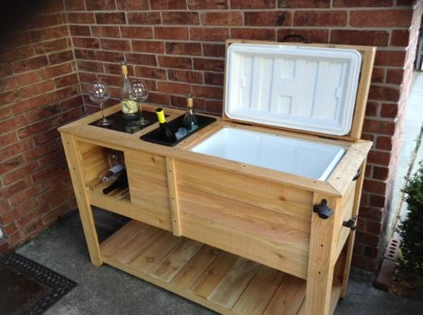 Custom made wooden patio cooler with built in wine rack