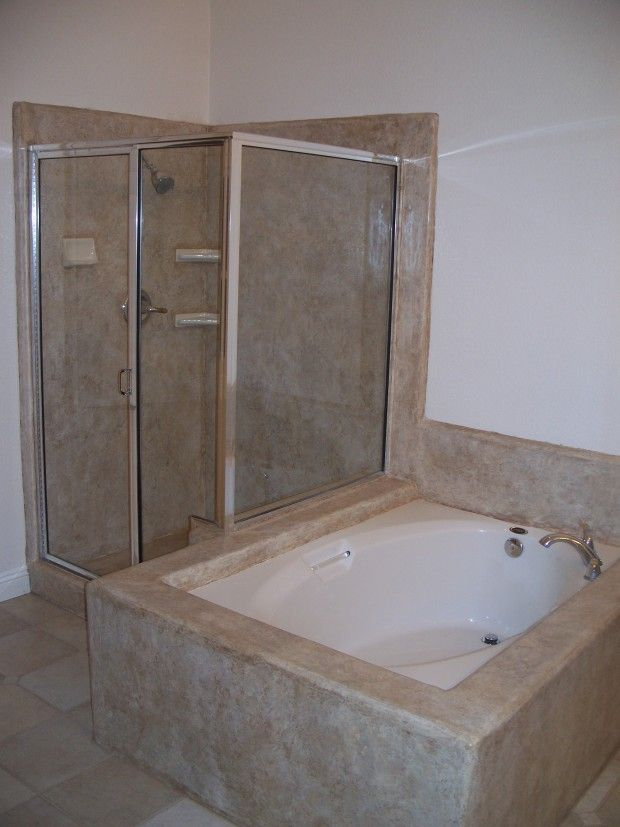 Decorative Concrete Overlay Over Tile On Shower And