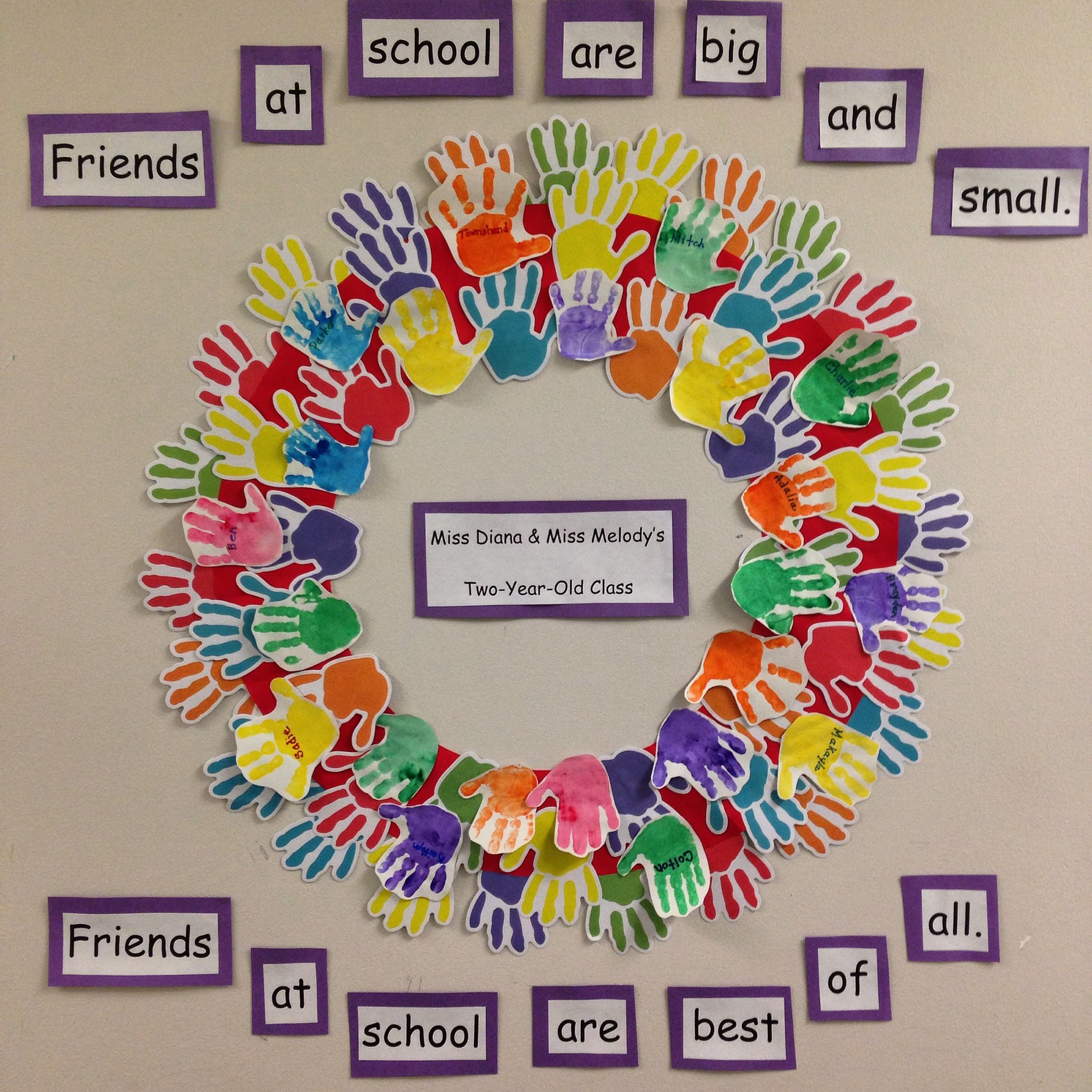 Sweet Handprint Friendship Wreath Great Activity For The First Week Of School