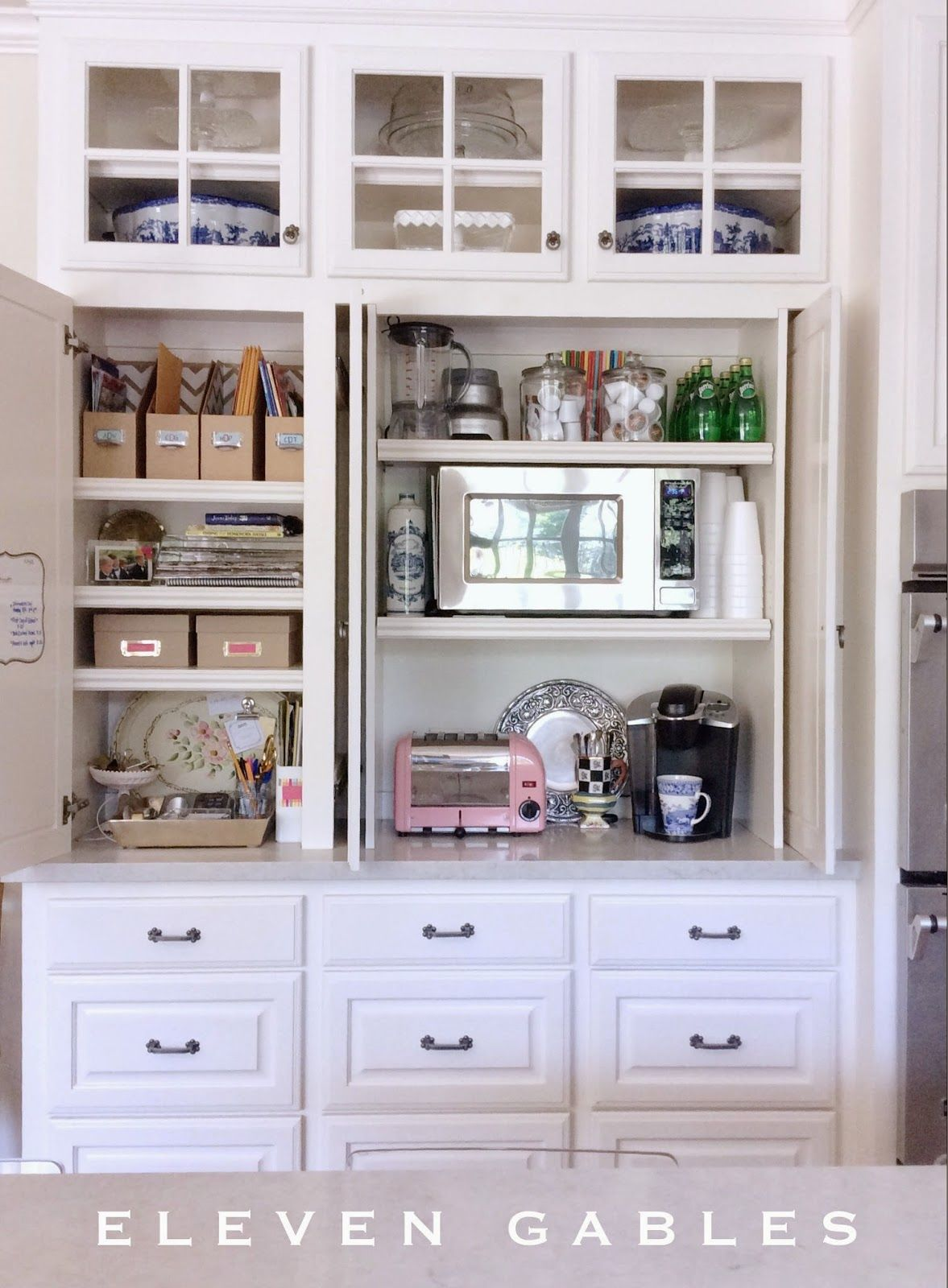kitchen appliance shelf console hidden cabinet and desk command center in the
