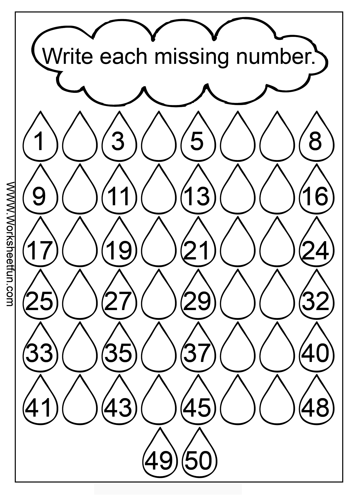 Missing Numbers 1 50