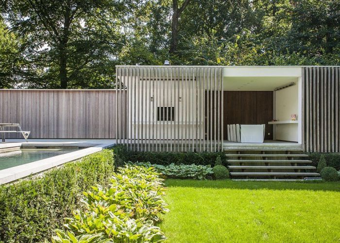 Contemporary pool house garden room modern poolhouse cr pi met hout bogarden also
