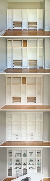 DIY Built-in Bookcases made with Ikea Hemnes Furniture ...