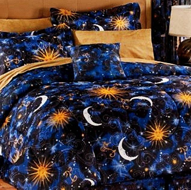 CELESTIAL SUN MOON STAR SPACE 8pc Queen Size Comforter