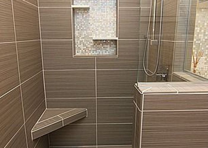 The little bench modern master bathroom with italia zen gris in  porcelain floor and wall tile paint also remodel newport news virginia by criner remodeling