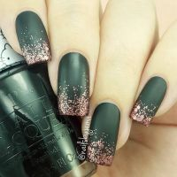 Matte Green Nails with Gold Glitter Tips | Nails ...