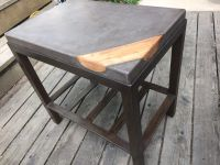 Concrete coffee table with wood inlay and metal base ...