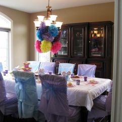 How To Make Chair Covers For A Party Brown Leather Office Chairs Sofia The First Birthay Diy Plastic Tablecloth