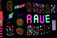 UV / Blacklight rave decorations. Made using on
