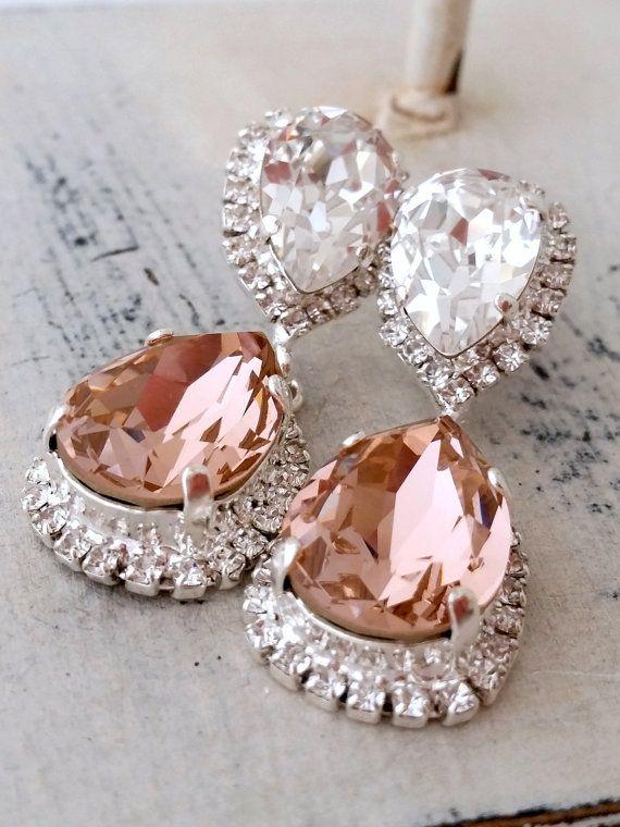 Blush Pink Crystal Swarovski Chandelier By Eldortinajewelry Earrings Wedding