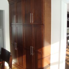 Kitchen With Pantry Cabinet Corner Tall Shallow Depth Pantries When We Take Down Part Of