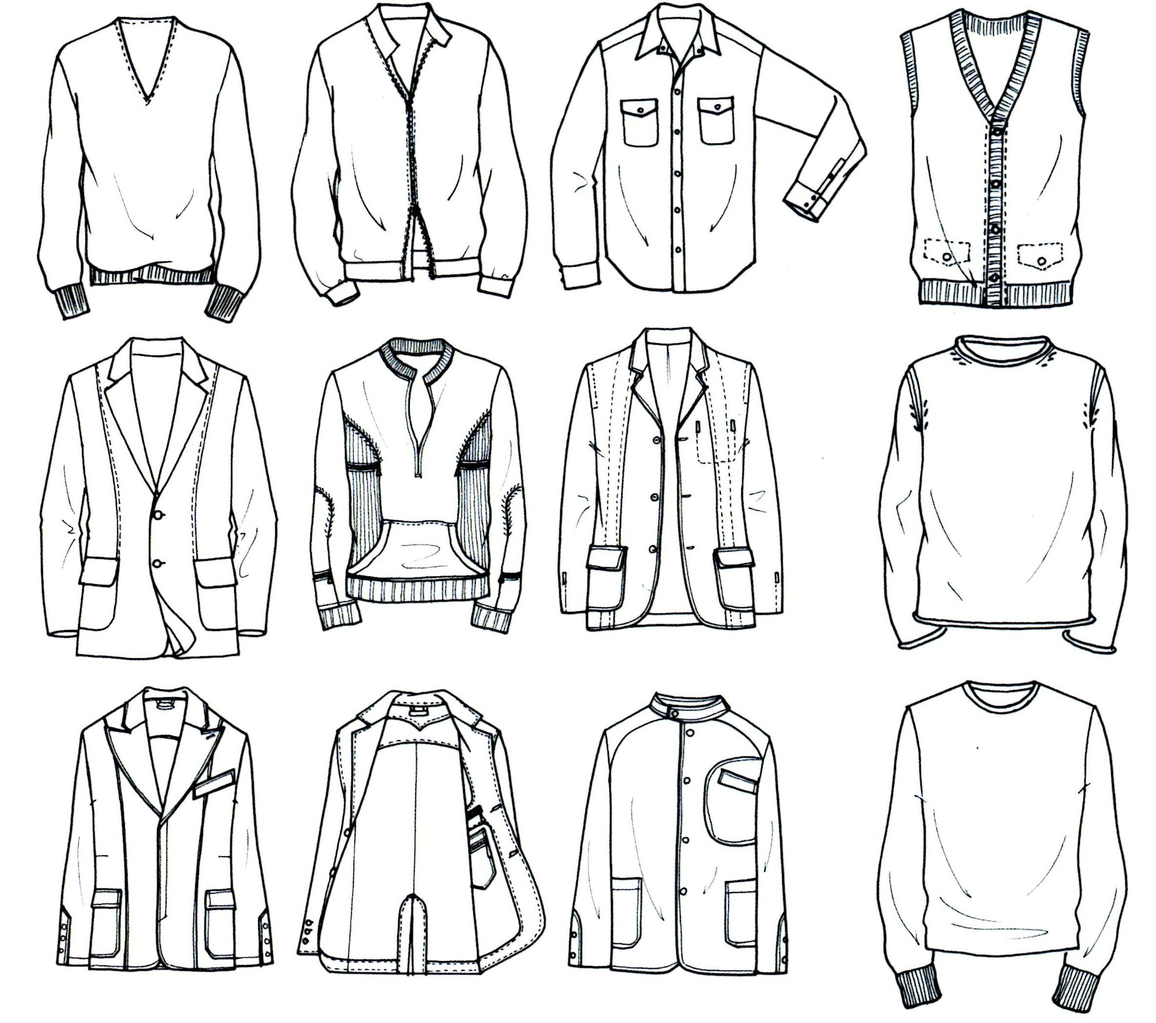 Button Up Shirt Technical Flat Sketch Sketch Coloring Page