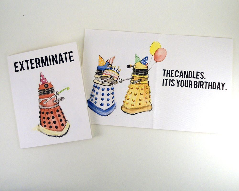 Exterminate The Candles Dalek Doctor Who Birthday Card