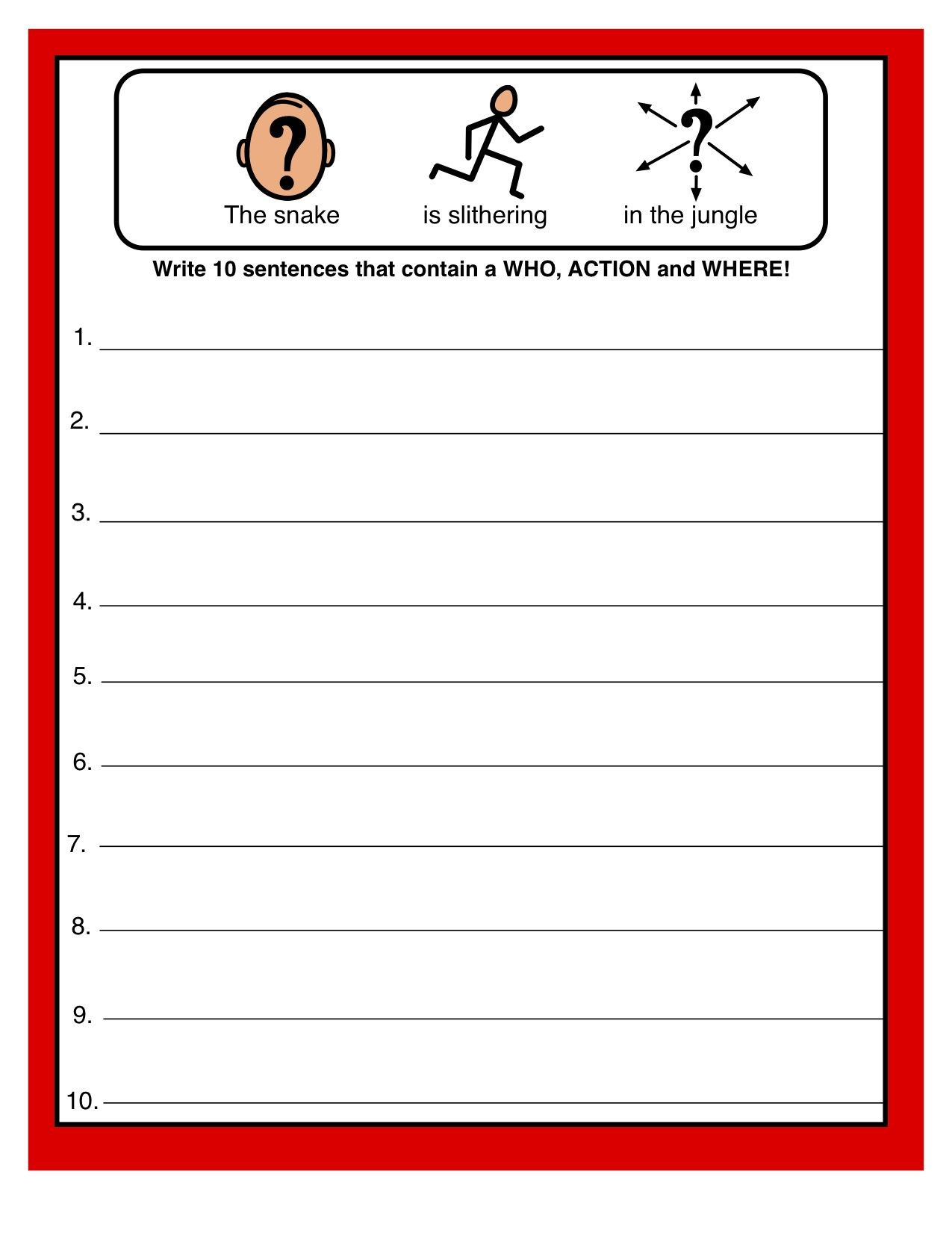 Simple Sentence Structure Great Worksheet For Making Complete Sentences From Adventures In