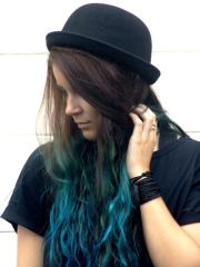 turquoise blue dip dye ombre hair