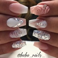 @haha_nails_ mani ombr nails 3D roses | makeup hair nails ...