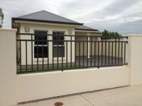 Outdoor Design, Simple Modern Home With Black Iron Fence ...