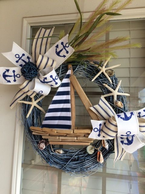 Sailboat Wreath Nautical Wreath Beach Wreath Anchor